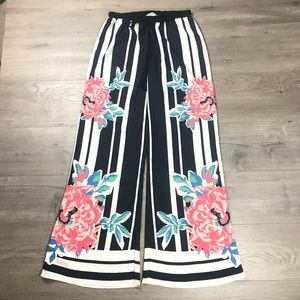 Flying Tomato Wide Leg Striped Floral Boho Pants